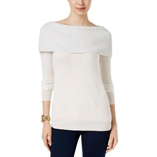MICHAEL Michael Kors Womens Pullover Sweater Metallic Off The Shoulder