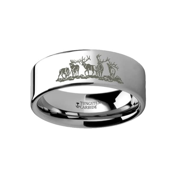 THORSTEN - Animal Landscape Scene Five Deer Stag Hunting Ring Engraved Flat Tungsten Ring - 12mm