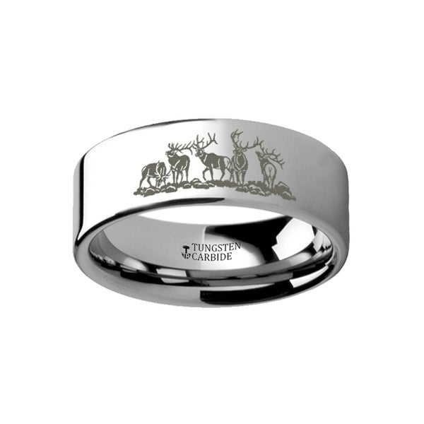THORSTEN - Animal Landscape Scene Five Deer Stag Hunting Ring Engraved Flat Tungsten Ring - 4mm