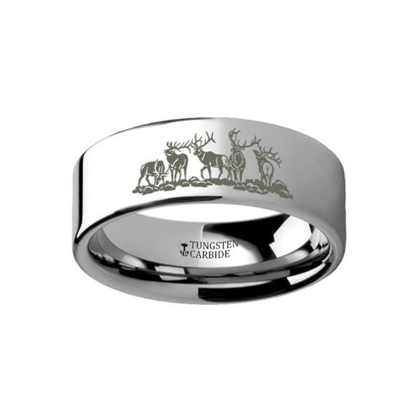 THORSTEN - Animal Landscape Scene Five Deer Stag Hunting Ring Engraved Flat Tungsten Ring - 6mm