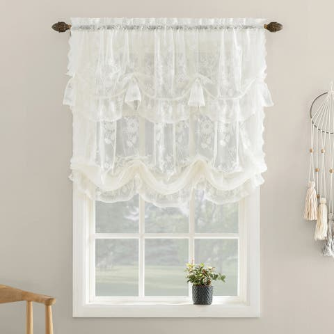 No. 918 Alison Floral Lace Sheer Rod Pocket Window Tie-up Shade, Single Panel