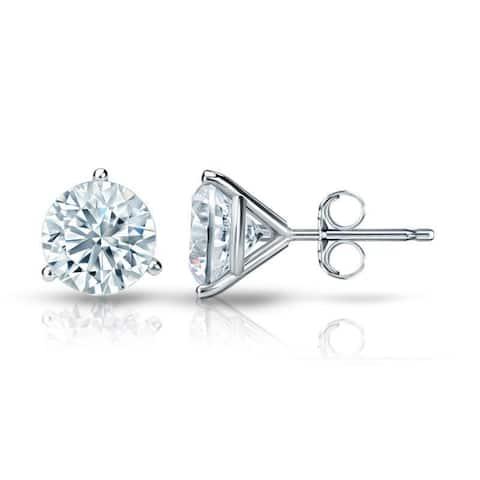 Auriya 14k Gold Round Diamond Stud Earrings 1 3/4ctw Martini-set GIA Certified