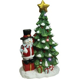 "23"" Christmas Morning Pre-Lit LED Tree with Santa Snowman Decorative Christmas Tabletop Figure"