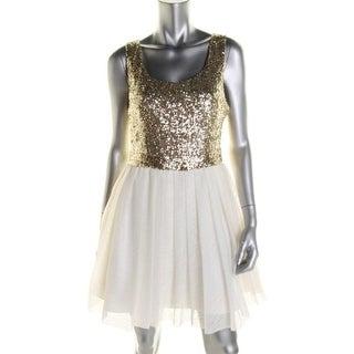 B. Darlin Womens Juniors Sequined Open Back Party Dress