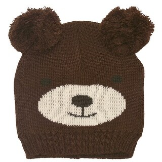 Gold Medal Boys Espresso Bear Face Double Pom-Pom Accent Knit Beanie Hat