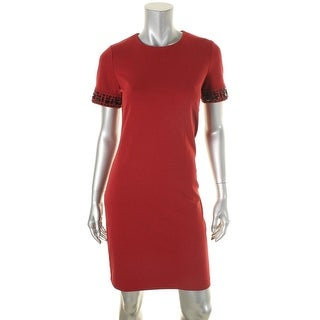 MICHAEL Michael Kors Womens Formal Dress Jeweled Sleeves Short Sleeve
