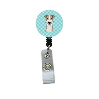 Checkerboard Blue Wire Haired Fox Terrier Retractable Badge Reel