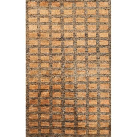 """Indoor/ Outdoor Checkered Moroccan Oriental Area Rug Handmade Carpet - 5'0"""" x 7'8"""""""