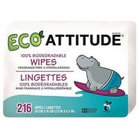 Attitude Eco Attitude Wipes Fragrance Free -- 216 Wipes