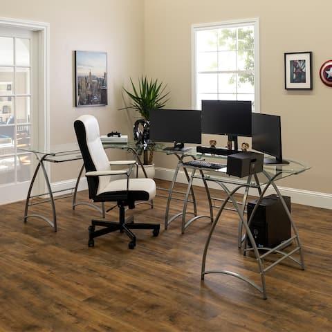 Porch & Den Vale Gaming Command Center Desks - Silver / Clear Glass