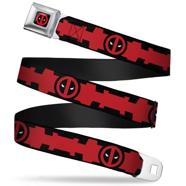 Marvel Universe Deadpool Logo Close Up Full Color Black Red White Deadpool Seatbelt Belt