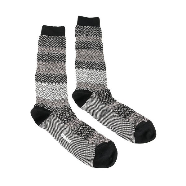 Missoni GM00CMU5683 0001 Gray/Black Calf Length Socks - Grey