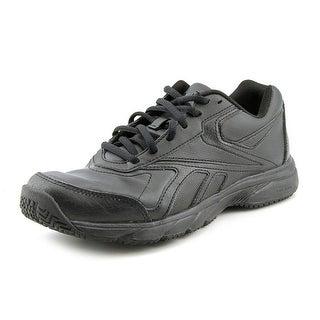 Reebok Work 'N Cushion Women Round Toe Leather Black Work Shoe