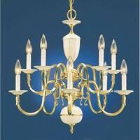 "Volume Lighting V3910 10 Light 24"" Height 2 Tier Chandelier - polished solid brass"