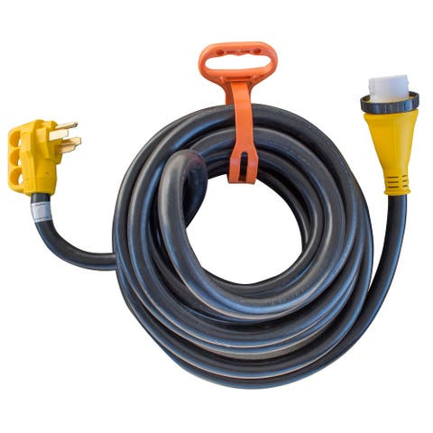 Offex 30' 125/250 Volt 50 Amp Marine Type Pigtail Extension Cord with Roll Up Carry Strap - Yellow, Black