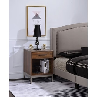 Modern Style 2 Drawer Wooden Nightstand With Rhinestone Inlays Silver Overstock 30403613