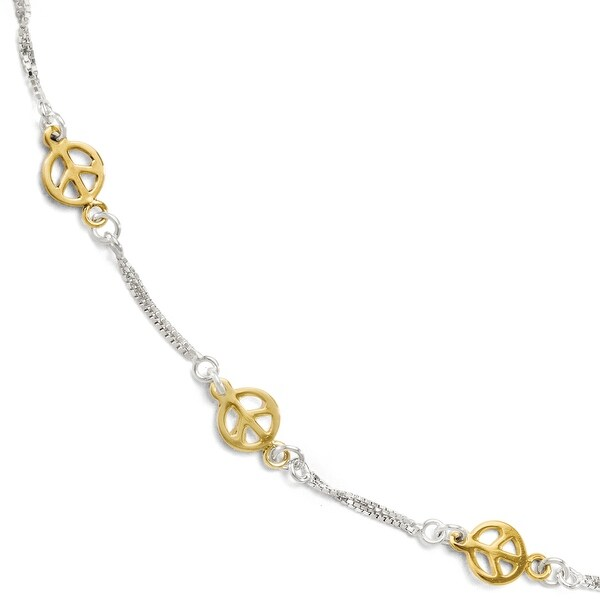 Sterling Silver Gold-tone 18k Flash Plated Anklet Adj. - 9 inches