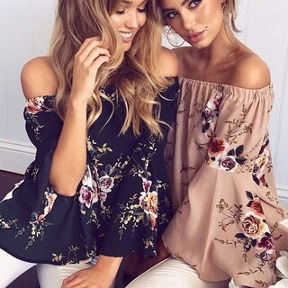 Flared Floral Off the Shoulder Chiffon Top in 3 Colors (More options available)