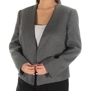 TAHARI $99 Womens New 1111 Black Gray Houndstooth Open Front Jacket 18 B+B