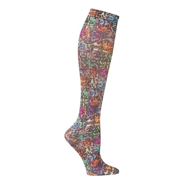 Celeste Stein Women's Mild Compression Knee High Stockings - Rainbow Pixels - Medium
