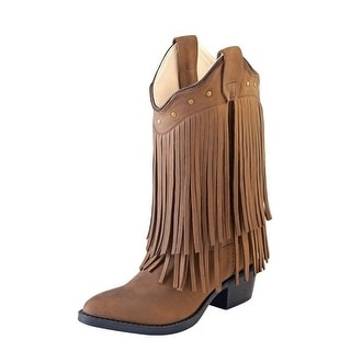 Old West Cowboy Boots Girls Kids Leather Fringe Chocolate 8125