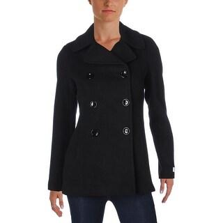 Calvin Klein Womens Petites Pea Coat Wool Blend Solid - 4P