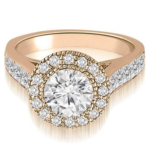 1.79 cttw. 14K Rose Gold Halo Round Cut Diamond Engagement Ring