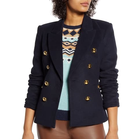 Halogen Women's Coat Navy Blue Gold Size 8 Double Breasted Pockets