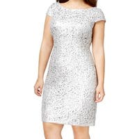 Adrianna Papell Silver Women's Size 20W Plus Lace Sequin Dress