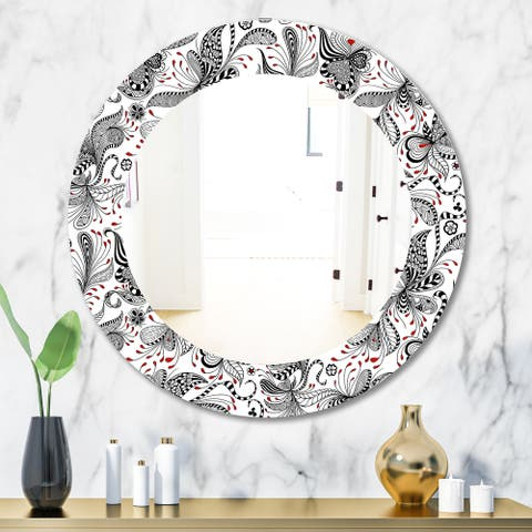 Designart 'Black & Red Floral Pattern' Bohemian & Eclectic Mirror - Oval or Round Wall Mirror - White
