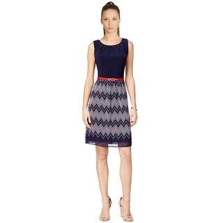 Connected Sleeveless Belted Chevron Stripe Dress Navy/Red - 14