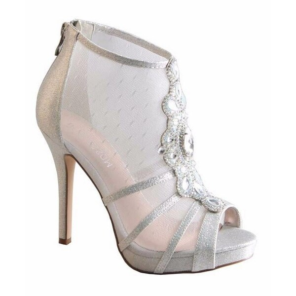 De Blossom Collection Adult Silver Sheer Panel Heeled Bootie