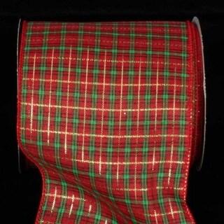 "Metallic Red, Green and Gold Tartan Plaid Pattern Wired Craft Ribbon 5"" x 40 Yards"
