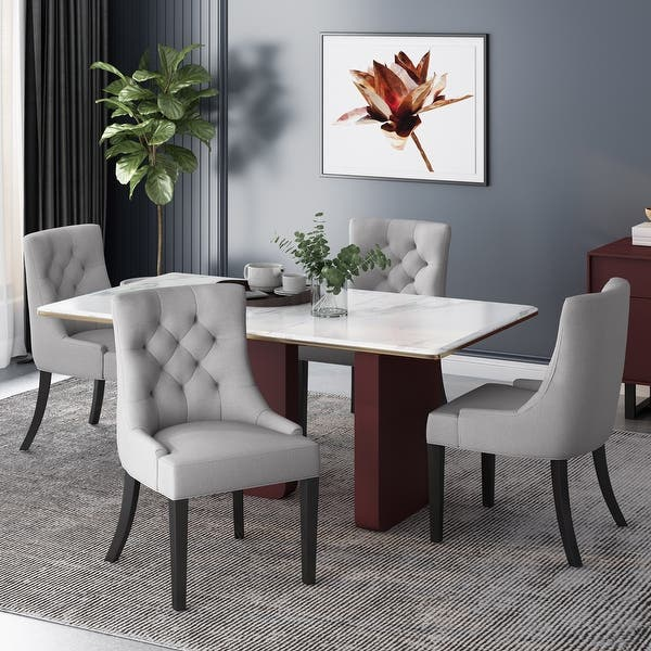 Hayden Tufted Fabric Dining Chairs Set Of 4 By Christopher Knight Home On Sale Overstock 31294612
