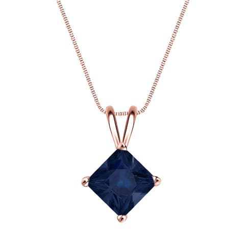 Auriya 14k Gold Princess-cut Sapphire Solitaire Necklace 1 1/2ct TW
