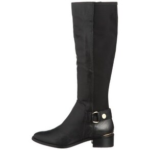 Steve Madden Ryyder Leather Gore Back Tall Boots Black