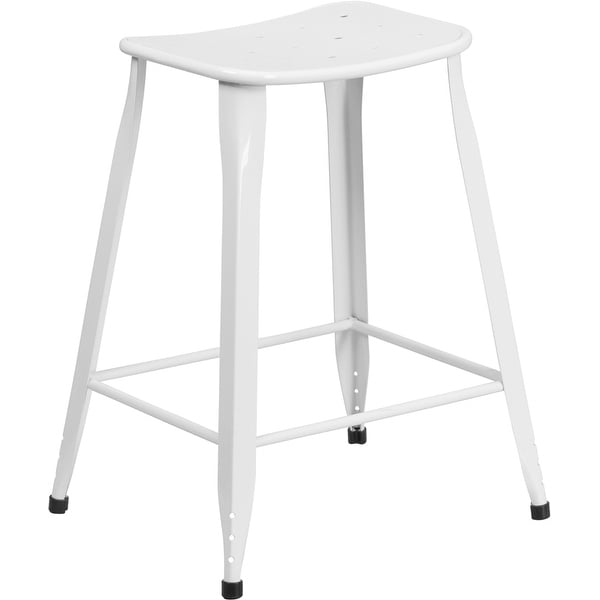 shop brimmes 24 high metal counter stool white backless saddle free shipping today. Black Bedroom Furniture Sets. Home Design Ideas
