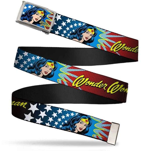 Wonder Woman Face W Stars Fcg Chrome Wonder Woman Face W Stars Webbing Web Belt