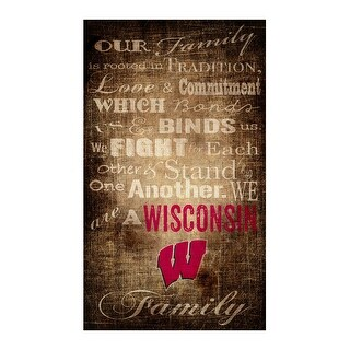 "Wisconsin Badgers Our Family 11"" x 19"" Canvas Print"