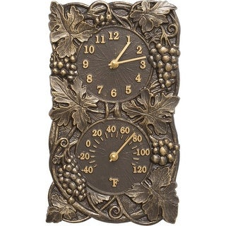 Whitehall Grapevine Combo Wall Clock & Thermometer (French Bronze) - Bronze