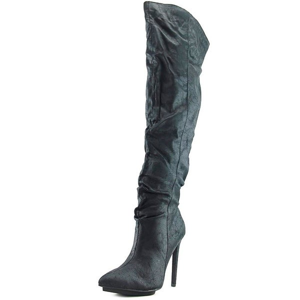 Michael Antonio Wicked-WC Women Pointed Toe Synthetic Black Over the Knee Boot