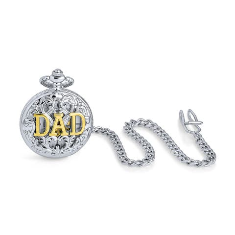 Mens Daddy Vintage Two Tone Dad Father Pocket Watch Silver Gold Plated