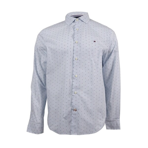 07503193 Shop Tommy Hilfiger Men's Classic Fit Long-Sleeve Dobby Check Shirt (L,  Light Blue) - Light Blue - L - Free Shipping On Orders Over $45 - Overstock  - ...
