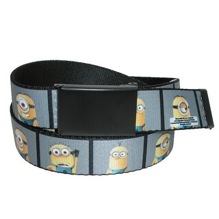 Buckle Down Kids' Dispicable Me Minion Photo Booth 1 Inch Web Belt - Grey - One Size