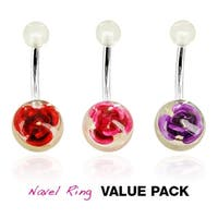 3 Pcs Pack of Assorted Stainless Steel Navel Belly Button Ring with Metal Rose Embedded in Clear UV Ball