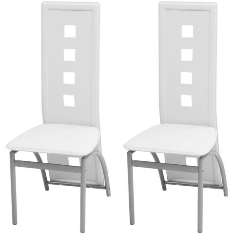 vidaXL Dining Chairs 2 pcs Artificial Leather White