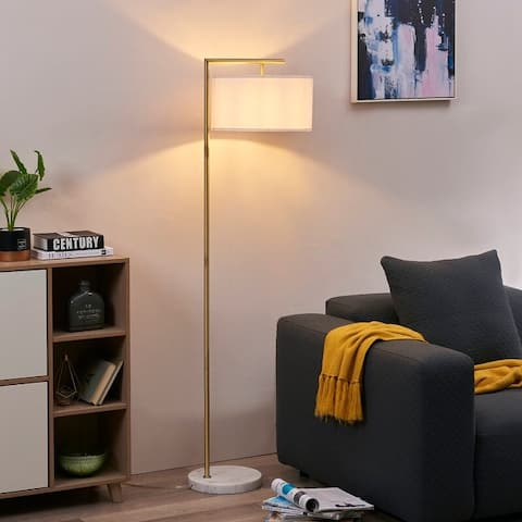 """Archiology ZENON 62"""" Brass Arch Floor Lamps with Marble Base - White/Brass"""