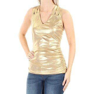 Womens Gold Sleeveless V Neck Casual Top Size S
