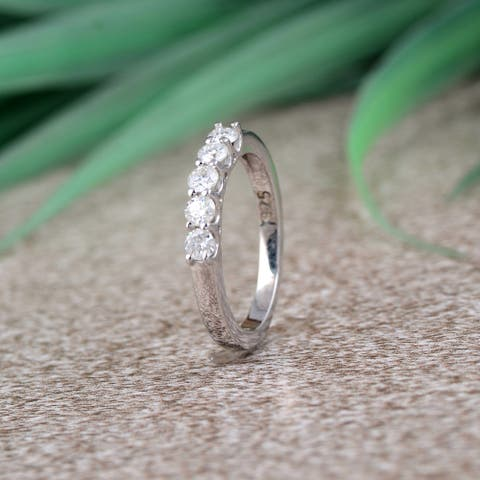 Moissanite Sterling Silver Round 5-Stone Ring by Orchid Jewelry