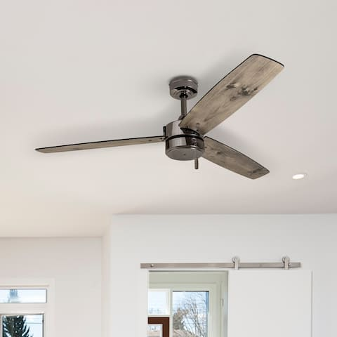 Prominence Home Journal Indoor/Outdoor Ceiling Fan, Damp Rated, Contemporary, Gun Metal - 52-inch